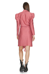 Dusty Pink Wrap Dress With Oversized Shoulders