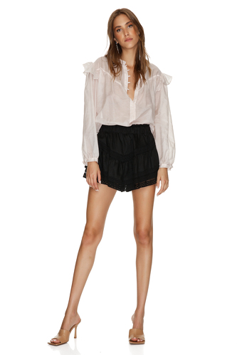 Black Linen Shorts With Cotton Lace Insertions - PNK Casual