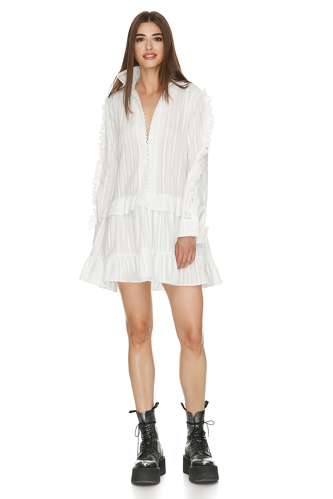 White Cotton Mini Dress With Long Sleeve - PNK Casual