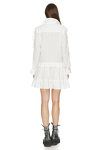 White Cotton Mini Dress With Long Sleeve