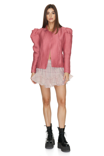 Dusty Pink Jacket With Oversized Shoulders - PNK Casual