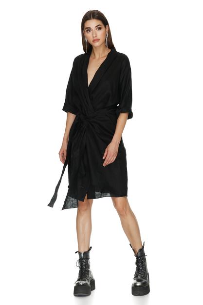 Black Wrap Linen Midi Dress