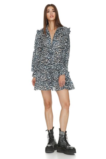 Animal Print Ruffled Dress