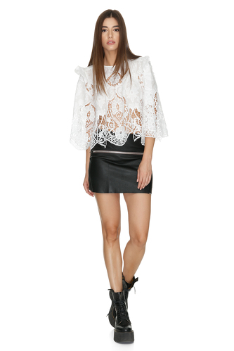 White Crocheted Cotton Blouse - PNK Casual