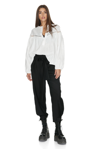 White Blouse With Cotton Lace Insertions - PNK Casual