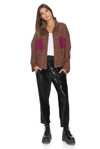 Fuchsia-Brown Oversized Shirt - PNK Casual