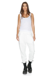 White Track Hand-Distressed Pants