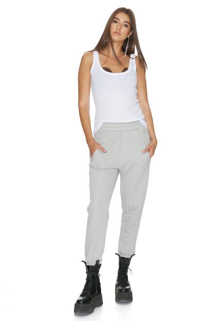 Grey Track Hand-Distressed Pants