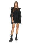 Black Crocheted Cotton Mini Dress