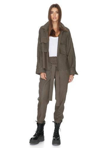 Army-Green Oversize Shirt - PNK Casual