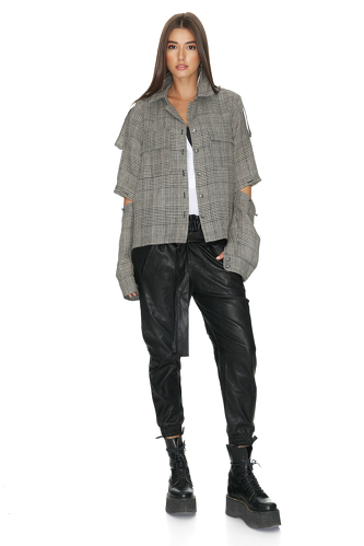 Checkered Oversize Cutout Shirt - PNK Casual