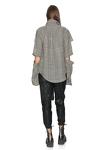 Checkered Oversize Cutout Shirt