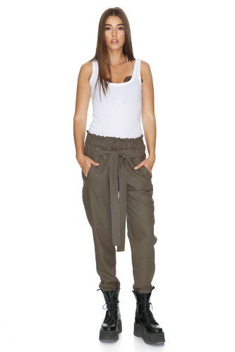 Army-Green Pants With Elasticated Hemline - PNK Casual