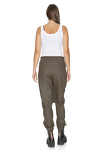 Army-Green Pants With Elasticated Hemline