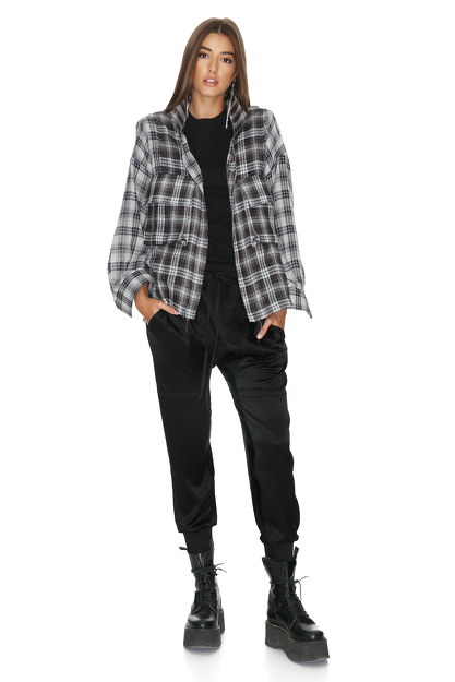 Grey Checkered Distressed Shirt