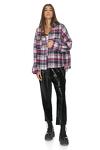 Mauve Cotton Checkered Oversize Shirt