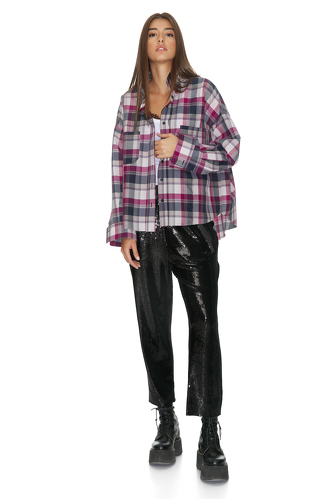 Mauve Cotton Checkered Oversize Shirt - PNK Casual