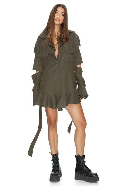 Army-Green Cutout Mini Dress
