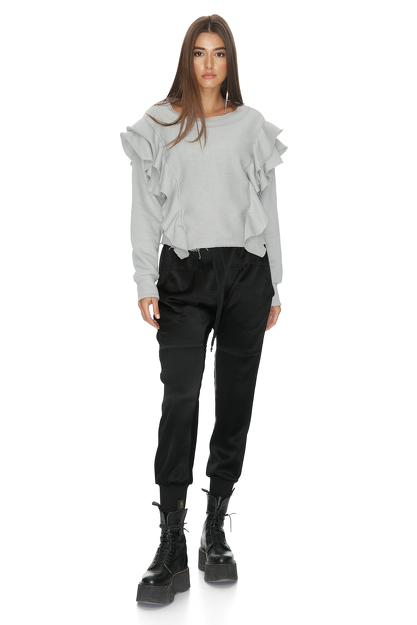 Grey Blouse With Side Ruffles