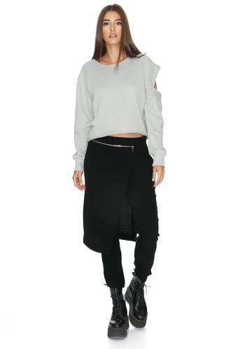 Grey Cotton Cutout Blouse - PNK Casual