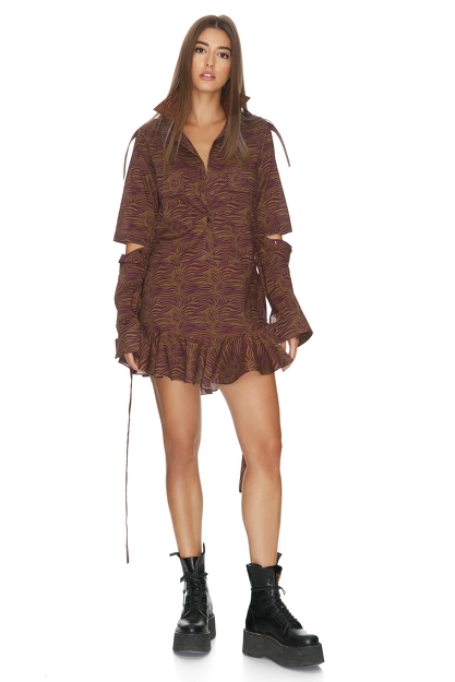 Brown Cutout Mini Dress