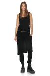 Black Viscose Pants With Overlaid Skirt