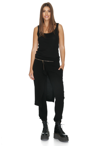Black Viscose Pants With Overlaid Skirt - PNK Casual