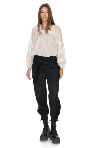 Belted Black Wool Pants - PNK Casual