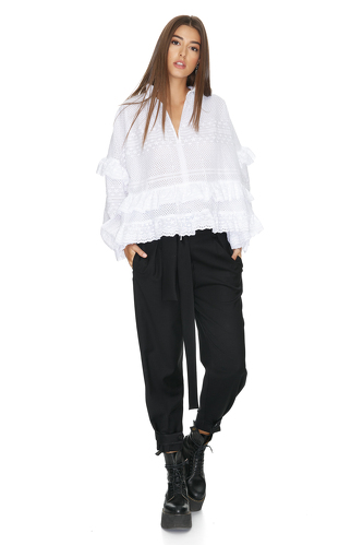 Ruffled White Cotton Lace Blouse - PNK Casual