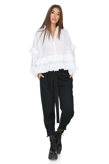 Ruffled White Cotton Lace Blouse