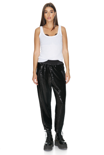 Black Midi Sequin Pants - PNK Casual