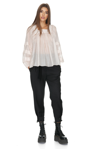 Rose Oversize Pleated Sleeves Blouse - PNK Casual
