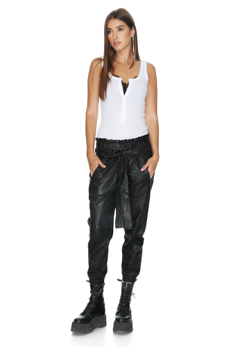 Black Leather Pants With Elasticated Hemline - PNK Casual