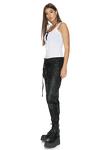 Black Leather Pants With Elasticated Hemline