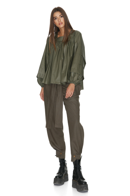 Kaki Oversize Pleated Sleeves Blouse