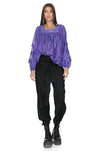 Indigo Oversize Pleated Sleeves Blouse - PNK Casual