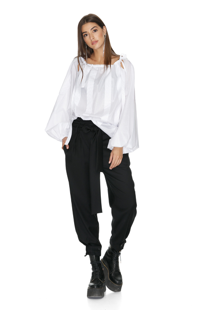 White Blouse With Cutout Shoulders