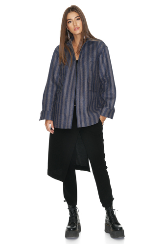 Blue Striped Fringed Jacket - PNK Casual