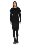 Cotton Ribbed Knit Black Dress With Side Zipped