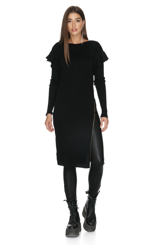 Cotton Ribbed Knit Black Dress With Side Zipped - PNK Casual