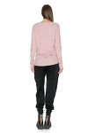 Dusty Pink Ribbed Cotton Blouse