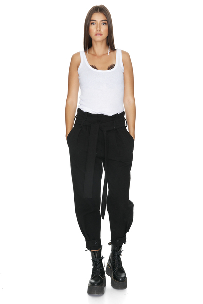 Belted Black Cotton Pants