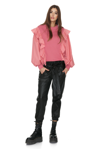 Dusty Pink Blouse With Side Ruffles - PNK Casual