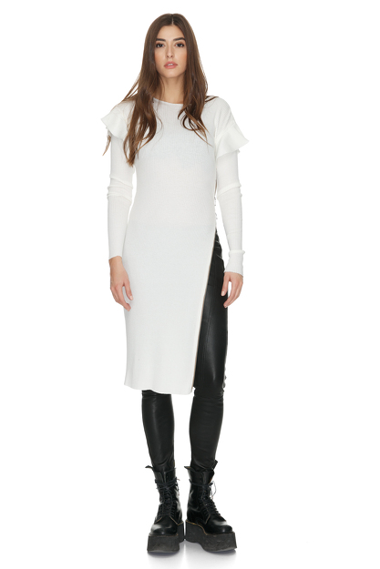 Cotton Ribbed Knit White Dress With Side Zipped