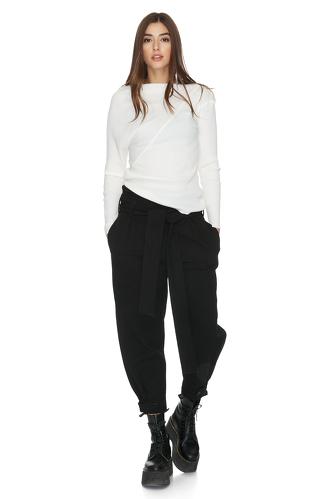 Ribbed Knit Cotton Asymmetrical White Blouse - PNK Casual