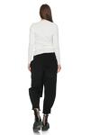 Ribbed Knit Cotton Asymmetrical White Blouse