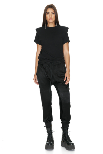 Black Ribbed Cotton Top With Oversized Shoulders - PNK Casual
