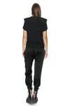 Black Ribbed Cotton Top With Oversized Shoulders