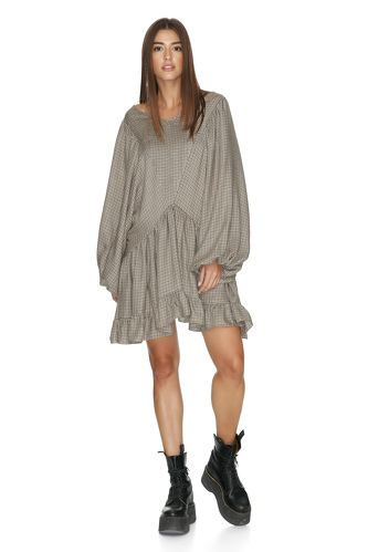 Viscose Checkered Dress With Long Sleeves - PNK Casual