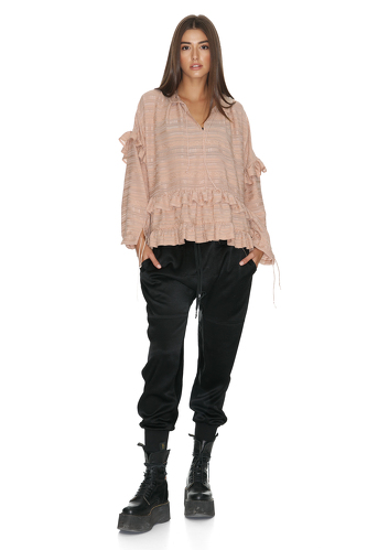 Ruffled Rose Cotton Blouse - PNK Casual